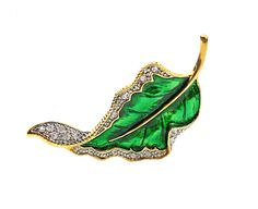 Emerald Gold Metallic Green Enamel and Gold Tone by ClassiqueStyle, $18.00