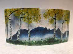 Misty Blue Ridge Mountain Fall Overlook II by Amanda Taylor (Art Glass Sculpture) | Artful Home