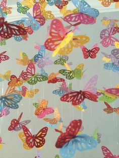 Color Splash monarch butterfly chandelier mobile by DragonOnTheFly