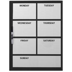 Plain Basic Simple Black White Days of the Week Dry Erase Board, $40.95