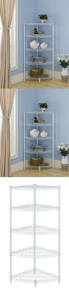 New White 5 Tier Corner Rack Display Shelf Kitchen Storage Wire Shelving C485