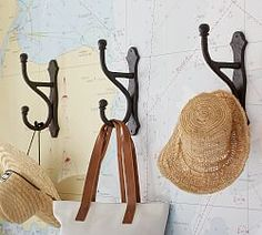 Overscaled Hook, Cast Iron At Pottery Barn - Organization - Hooks - Single Hooks Entryway Mirror With Hooks, Door Hooks, Entryway Coat Hooks, Wall Coat Hooks, Diy Coat Hooks, Diy Wall Hooks, Rustic Coat Hooks, Rustic Wall Hooks, Cast Iron Coat Hooks