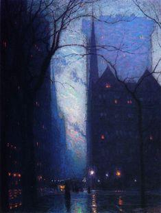 "Pintura a óleo sobre tela de Lowell Birge Harrison. ""Fifth Avenue at Twilight"". c.1910."