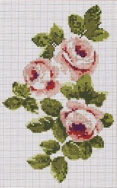 trio of roses. I think this is cross stitched but still very pretty