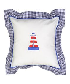 White & Red Embroidered Lighthouse Pillowcase