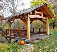 Timber Frame Cantilevered Overlook Gazebo by David Yasenchack Timber Framing and Design Timber Frame Cabin, Timber House, Outdoor Rooms, Outdoor Living, Backyard Pavilion, Gazebo Pergola, Timber Buildings, Outdoor Projects, Outdoor Structures