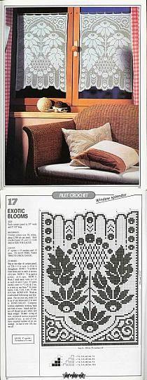 Firanki zasłonki chodniki dywaniki -również na szydełku na Stylowi.pl Filet Crochet, Knit Crochet, Crochet Edgings, Crochet Curtains, Window Curtains, Zentangle, Diy And Crafts, Tapestry, Crochet Stitches