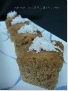 Apam Gula Melaka // Syrup: 1 cup water, 1/2 cup palm sugar - cut to small pieces, 1 screw pine leaf (daun pandan) Batter: 2 cups flour, 1 teaspoon dried yeast, 3/4 cup water, 3 tablespoons sugar, pinch of salt