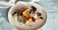 Peaches and Burrata with Pickled Shallot | EyeSwoon