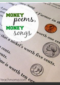 Money poems are fun ways to teach kids about money! Great math resource for younger kids when they need to learn the value and other facts about American money and currency! #math #learning #Kids #elementary #funlearning #teachingkids #teachmama