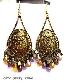 Shimmering gold and purple long drop earrings. McKee Jewelry Designs