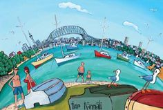 Check out the deal on Auckland Cityscape by Timo Rannali at New Zealand Fine Prints Painted Walls, Dinghy, Auckland, New Zealand, Fine Art Prints, Boat, Wall Art, City, Gallery