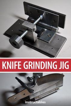 Make a solid knife grinding jig that includes a couple additional features. Knife Grinding Jig, Knife Grinder, Knife Sharpening, Forging Knives, Forged Knife, Belt Grinder Plans, Collector Knives, Knife Making Tools, Knife Making Forge