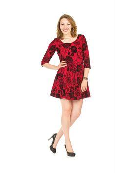 Papillon Velvet Rose Fit & Flare Dress
