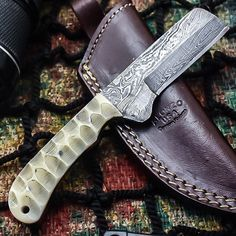 ALONZO KNIVES USA CUSTOM HANDMADE DAMASCUS TACTICAL HUNTING KNIFE CAMEL BONE 360 #AlonzoKnives