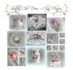 """Shabby Chic Decor ~ Clay Flowers by A Floral Affair"" by afloralaffair-1 ❤ liked on Polyvore featuring interior, interiors, interior design, home, home decor and interior decorating"