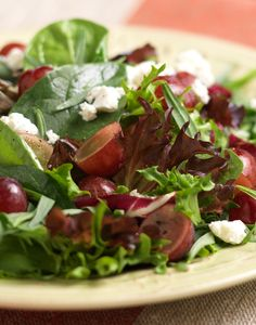 *Tarragon Salad with Grapes and Goat Cheese*  This salad is a perfect way to get the appetite going. Can be used as a meal or an appetizer.  *Serves 2*