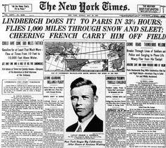 Vintage May 21, 1927, The New York Times celebrates Lindburgh's Trans-Atlantic flight, New York to Paris, NYC, www.RevWill.com