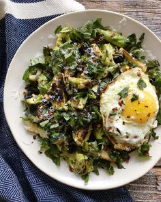 brussels sprouts, scallions, zucchini with a chili flake fried egg