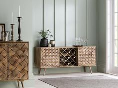Margaery Mango Wood Sideboard with Bottle Rack is best for wine lovers, £770 from Perch and Parrow (Affiliate Link) Sideboard With Wine Rack, Large Sideboard, Oak Sideboard, Retro Furniture, Unique Furniture, Oak Furniture Superstore, Hallway Furniture, Bottle Rack, Classic Interior