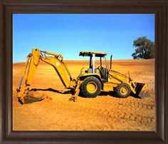 Caterpillar Cat Wheel Loader Excavator Truck Brown Rust Framed Art Print Picture (19x23) by Impact Posters Gallery, http://www.amazon.com/dp/B00HFRJME6/ref=cm_sw_r_pi_dp_x_NOyDzb11DK9Y9