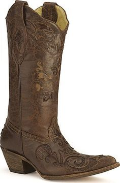 brown cowgirl boots! Solid brown boots for the bridesmaids These would look awesome or something similiar to go with the red dresses. Make sure it is a drk brown boot :) @Cassy Casteel
