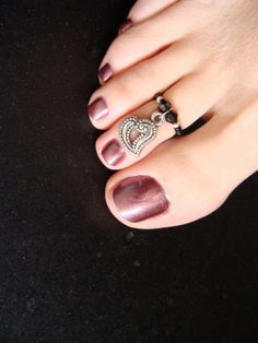 Toe Ring  Heart Charm  Black Crystals  Stretch Bead Toe Ring by FancyFeetBoutique, $6.25
