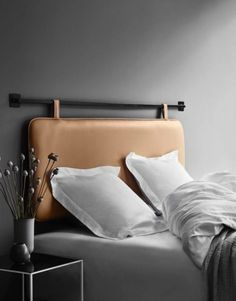 This high quality creamy leather headboard is made in the finest aniline leather & wall mounted with your preferred rings or hooks. Unique Bedroom Furniture, Bed Furniture, Furniture Design, Lewis Furniture, Western Furniture, Design Your Home, Home Interior Design, Interior Ideas, Interior Styling