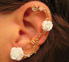 Non Pierced Cartilage  Cuff Roses are White by ArianrhodWolfchild, $12.00