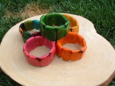 Tagua nuts square bracelets with nut brown edges many colors available