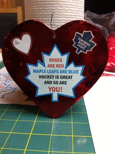 Toronto maple leaf valentine cards.  My Husband and son would love this!