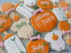 Autumn fall October baby shower cookie collection ~ pumpkins, onesie, baby bottle decorated cookies to welcome the lil'punkin. Baby Cookies, Baby Shower Cookies, Shower Bebe, Baby Boy Shower, Baby Shower Parties, Baby Shower Themes, Baby Shower Fall Theme, October Baby Showers, Fall Baby Showers