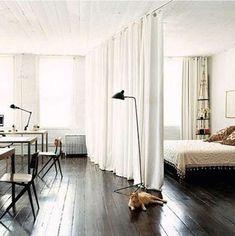 Room Divider Curtains - between playroom and shop