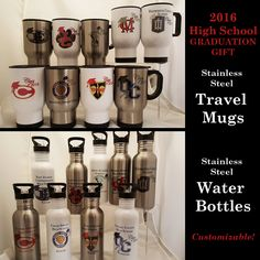 Class of 2016 Graduation Drinkable Gifts, Stainless Steel Travel Mugs, Stainless Steel Water Bottles, Customized Gifts, Non Gender Gifts by ClassicDesignsGifts on Etsy