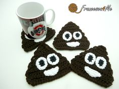 Crochet Poop Emoji Coasters/Set of 4 by Francesca4me on Etsy