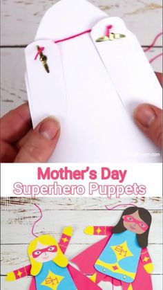 This printable Mother's Day Superhero Puppet craft is a great way to tell Mom or Mum she's super special! Pull the string at the bottom to make Supermom's arms and legs move. Such a fun Mother's Day craft and gift idea. (10 multicultural options to choose from.) #kidscraftroom #mothersday #mothersdaycrafts #superhero #mothersdaygifts #kidscrafts #printables #puppets Fun Activities For Kids, Preschool Ideas, Fun Crafts, Crafts For Kids, Puppet Crafts, Mothers Day Crafts, Creative Play, Super Mom, Simple Art