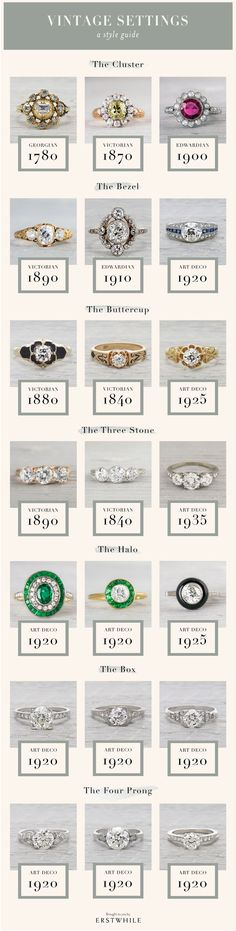 This is really helpful in identifying styles--vintage engagement ring settings guide