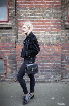 Blogger Linn Wiberg in black suede jacket