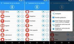 Cambiador de voz para Android con efectos realmente divertidos, después puedes guardar, enviar y compartir tu voz modificada con tus amigos.