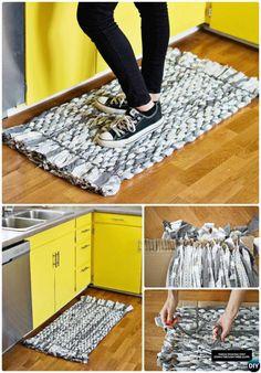 Diy fabric woven rag rug no crochet diy rug ideas instructio Zebra Print Rug, Rag Rug Diy, Bubble Quilt, Braided Rag Rugs, Towel Rug, Cheap Carpet Runners, Diy Carpet, Hall Carpet, Fabric Strips