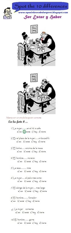 Spanish Test: Spanish Vocabulary Test: Spot the 10 differences