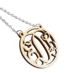 Birch Wood Monogram Necklace   .  #necklase #jewelry #monograms 9thelm.com