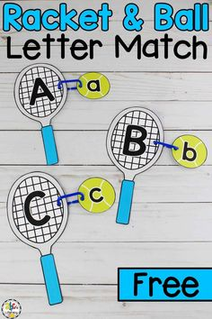 Did you know that February 23rd is Play Tennis Day? Play this letter knowledge version of tennis with your preschoolers! This Tennis Racket & Ball Alphabet Match is an interactive way for your pre-readers to practice capital and lowercase letter recognition and work on developing their fine motor skills. Click on the picture to get your free Tennis Racket & Ball Letter Match activity! #letterrecognition #lalphabetrecognition #lettermatch #alphabetmatch #finemotorskills #finemotoractivity