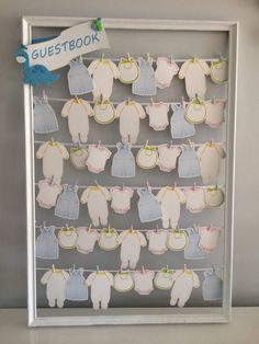 Baby Shower- (guest book) guest sign in or leave special message for baby/parents to be! I purchased the baby clothes with pins @party city 24 in a pack.