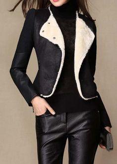 Fashionable Long Sleeve Turndown Collar Woman Jacket Black
