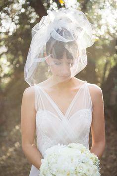 Short, whimsical veil: http://www.stylemepretty.com/california-weddings/beaumont/2014/10/01/rustic-elegant-wedding-in-the-lavender-fields-of-highland-springs-resort/ | Photography Ryon:Lockhart - http://www.ryonlockhart.com/