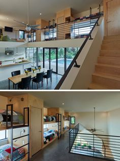 Interior Design Ideas For Sleeping Six People In A Room // This pool house designed by Marlon Blackwell Architects, has an upper level with bunk beds running the length of the space.