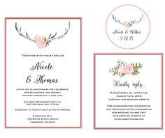 Printable Designs, Printables, Printable Wedding Invitations, New Love, Wedding Website, New Beginnings, Pink Flowers, Etsy Store, Our Wedding