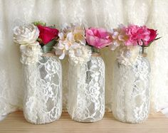 3 ivory lace covered ball mason jar half gallon vases