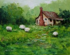 'Four White Sheep', painting by artist Justin Clements
